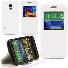 Apple iPhone 5 5S Tasche Handy Klapp Case Schutz Hülle Cover Etui Window Weiß