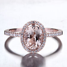 Best? Solid 14K Rose Gold Pave Diamonds 6X8mm Oval Cut Morganite Women Fine Ring