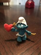 1980 Winged Cupid Smurf Figure With Bow And Heart Arrow~pvc~PEYO