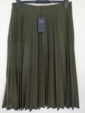 BNWT LADIES M&S COLLECTION RANGE PLEATED LINED KHAKI GREEN MIDI SKIRT SIZE 14