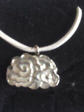 "Cluster Cloud TG260 Fine English Pewter On 18"" White Cord Necklace"