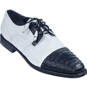 Men's Los Altos Caiman Belly W Teju Lizard Cap Toe Derby Shoes White Black