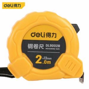 1PCS DL9002B 2m Home Measuring Tape Steel Ruler 13mm Portable Yellow