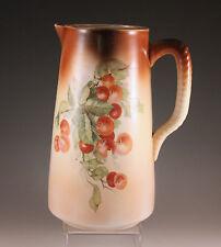 Antique Edward Owen, Minerva Oh Large Pitcher, Cherries 1902-1932