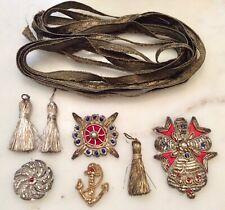 Vintage Metallic Wire Bullion Pocket Crest Beaded Appliqués Tassels Trim Small
