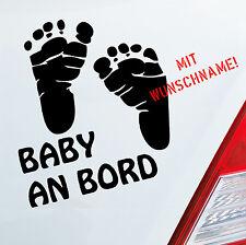 Autoaufkleber WUNSCHNAME Baby an Bord Board Füße Auto Aufkleber Sticker 167