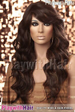 HOT Long Loose Wavy Ringlet Wig Heat Friendly Safe OK Brown Blonde Mix