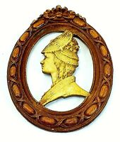 Antique Wood Style OVAL FRAME & Carved SILHOUETTE WOMAN