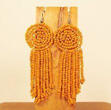 "2 1/2"" Orange Color Boho Style Handmade Dangle Seed Bead Chandelier Earring"