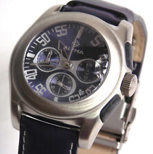 ALPHA SAPHIR Jacques Leman Herren Uhr Armbanduhr Chronograph Lederband blau NEU