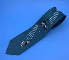 Vintage 50's 60's Skinny Green Leprechaun Silk Tie
