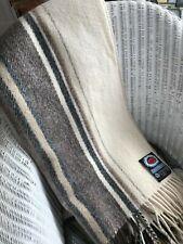 """Norwegian Wool """"Berger Pledd"""" Large Blanket in Cream, Taupe and Brown, 100% Wool"""