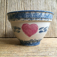 Country Blue Sponge Ware Pink Heart Pottery Mixing Bowl Vintage Kitchen