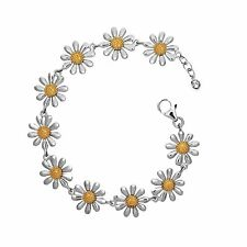 Silver Daisy Bracelet with Gold Plated Centres