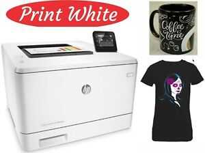 HP M452DW PRINTER WITH 8K GHOST WHITE TONER CARTRIDGE.FOR T-SHIRTS & TRANSFERS
