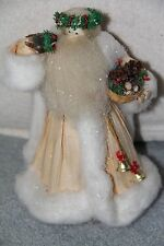 Nan's Dolls Santa Claus Doll Corn Husk Cornhusk Bird + Basket of Pinecones