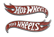 "5"" Chrome & Red Hot Wheels Flames Emblem Hot Rod, Mustang, Camaro"