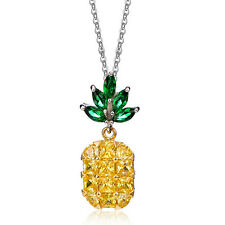 Beautiful Crystal Yellow and Green Pineapple Pendant Women Necklace Chain N524