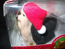 Dog Yorkshire Terrier Puppy*Standing Figure*Santa Hat*Pup Ornament*Free Ship*