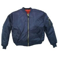 NAVY BLUE Men's MA-1 Military Style Bomber Flight Jacket  Coat sz: L LARGE - NEW