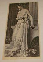 1886 magazine engraving ~ MYRTIS, THE FLOWER GIRL