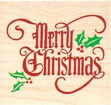 Merry Christmas Greeting INKADINKADO RUBBER STAMP - w/m  Free Shipping  NEW