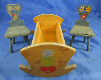 uralt Holz_Wiege 2 Bauernstühle für Puppenhaus Puppenstube Bauernmöbel