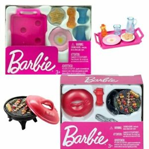 Barbie Dollhouse Accessories Pink Breakfast BBQ Cooking Grilling Mini Play Set