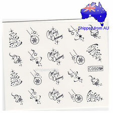 Silver Christmas Tree Ball Decoration Nail Art Water Transfer Decal