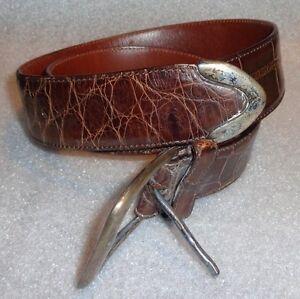 fine Ralph Lauren brown alligator skin belt size 30 sterling silver buckle