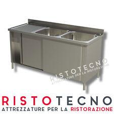 Lavatoio Lavello ARMADIATO inox 2 vasche + sgocciolatoio SINISTRO Cm. 150x70x85H