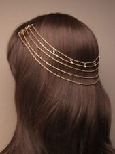 NEW Vintage gold gilt back of head on comb headchain tiara wedding bride prom