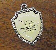Vintage silver TEXAS STATE DINOSAUR VALLEY PARK GLEN ROSE SHIELD charm #E6