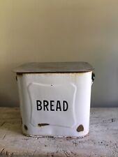 Vintage Antique Large Enamel Metal Bread Bin White & Black Script Container Box