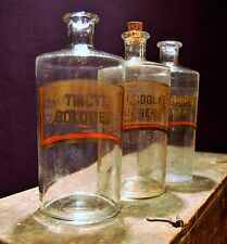 3 Victorian Chemist Pharmacy Apothecary Jar Metal Lids Gold Leaf Painted Curio