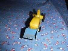 Vintage Wannatoy Tractor Yellow Blue Black Wheels  4 1/16 Inch Long