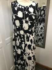 BODEN Black & White Floral Silk Blend Dress Size 14 L Special Occasion Wedding