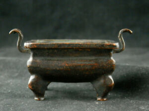 Special Antique Chinese Qing Dy Brass 4Feet Little Incense Burner Y043