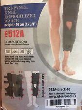 "Adjustable Tri-Panel Knee Immobilizer Brace w/ Straps Type 512A Black 15 3/4"""