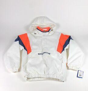 Denver Broncos NFL Starter Mens Small Retro White Orange Pullover Jacket Coat