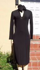 S MAX MARA STRETCH BLACK HOODIE LONG SLEEVE STRETCH DRESS Sz S MADE IN ITALY