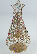 """Small Gold Wire 10"""" Christmas Tree Sparkles & Multicolored Balls w/ Star"""