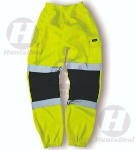 Hi Viz Vis High Visibility Yellow Joggers Trouser Reflective Fleece Safety Work