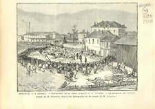 GRENOBLE MAISON ECROULÉE RECHERCHE VICTIME 15/11 1886 GRAVURE ANTIQUE PRINT