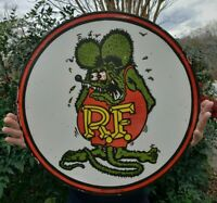 """LARGE 24"""" 1961 DATED RAT FINK PORCELAIN SIGN DOUBLE SIDED RARE"""