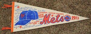 Rare 1973 NY Mets NL Champs Signature Pennant Mays Seaver Berra Koosman McGraw