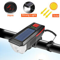 Bicycle Headlight Light LED Rechargeable Bike Solar Lamp W/ Horn Warning Cycling