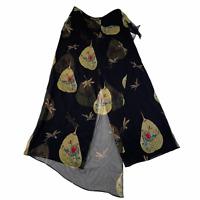Harari Asian Print Buddha Silk Pants Womens M Black Multicolor Lined Draped