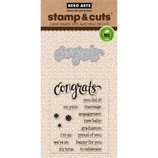 Congrats Hero Arts Clear Congratulations Stamp & Cut Thin Metal Die Set DC149