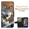For iPhone 6 PLUS 5.5inch Wallet Flip Case Cover Real Wolf Y00944